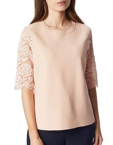 Precis Petite Knit Lace Sleeve Top-PINK-Large
