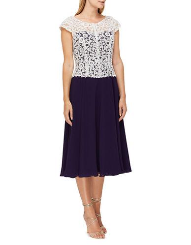 Jacques Vert Cap Sleeve Dress-PURPLE/WHITE-UK 12/US 10 89564444_PURPLE/WHITE_UK 12/US 10