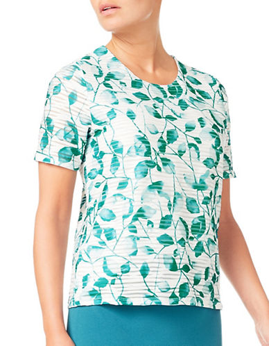 Eastex Jade Mono Leaf Jersey Top-GREEN MULTI-UK 14/US 12