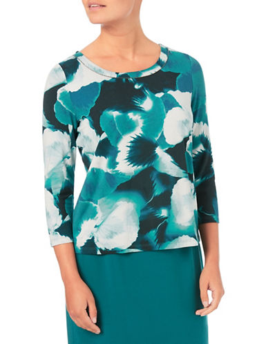 Eastex Harvest Bloom Jersey Top-GREEN MULTI-UK 20/US 18