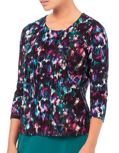 Eastex Grain Leaf Jersey Top-PURPLE MULTI-UK 16/US 14