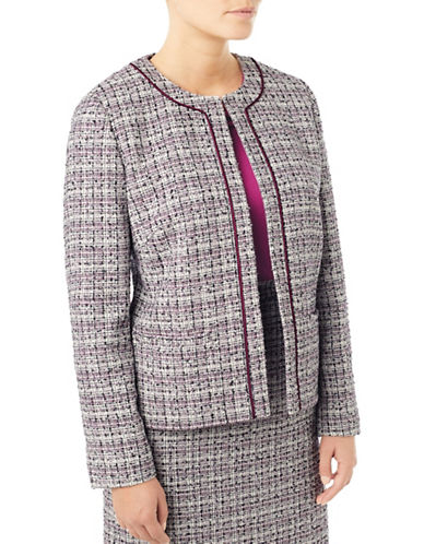 Eastex Open Front Tweed Jacket-MULTI-UK 20/US 18