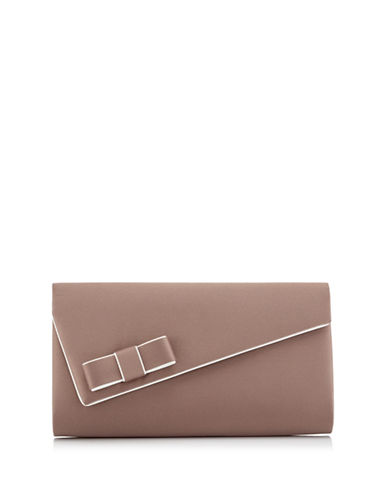 Jacques Vert Piped Bow Clutch Bag-BROWN-One Size