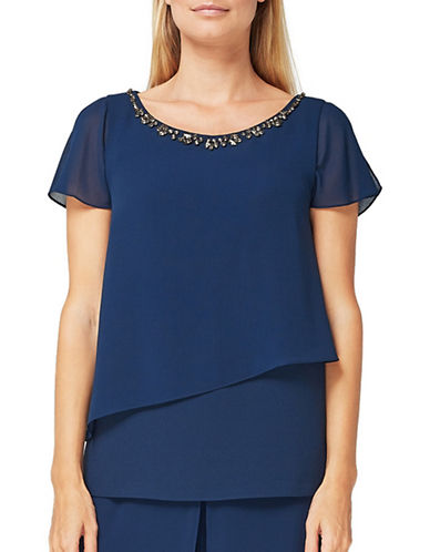 Jacques Vert Zoe Embellished Neck Blouse-NAVY-UK 14/US 12
