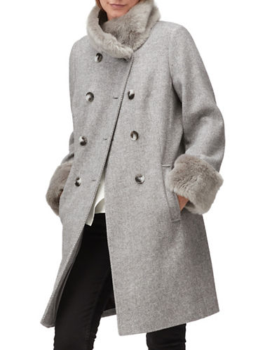 Jacques Vert Wool-Blend Faux-Fur Peacoat-GREY-UK 16/US 14