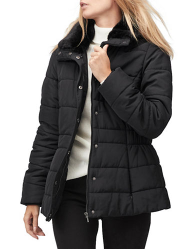 Jacques Vert Iris Faux-Fur Trim Puffer Coat-BLACK-X-Large