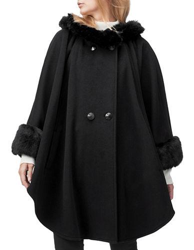 Jacques Vert Sophia Faux-Fur Trim Wool-Blend Cape-BLACK-Small/Medium