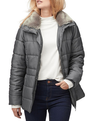 Jacques Vert Iris Faux-Fur Trim Puffer Coat-GREY-X-Large