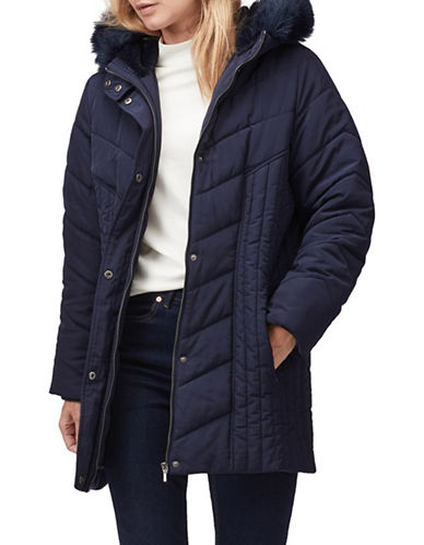 Jacques Vert Jamie Faux-Fur Trim Padded Coat-NAVY-Small