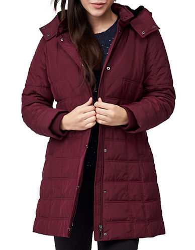 Precis Petite Quilted Hooded Coat-DARK RED-UK 14/US 12