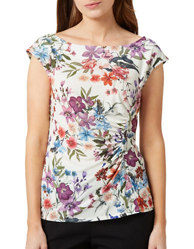 Precis Petite Floral Print Cap-Sleeve Top-IVORY-X-Large