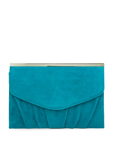 Jacques Vert Ruffled Suede Clutch-GREEN-One Size