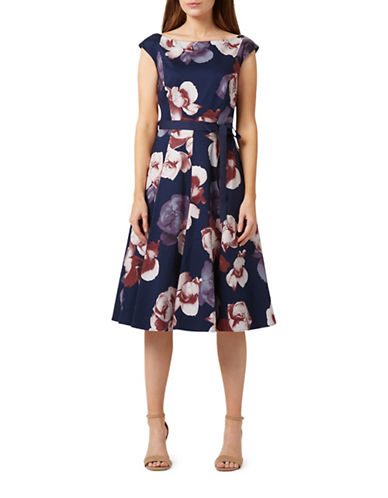 Precis Petite Floral Fit-and-Flare Dress-NAVY-UK 14/US 12