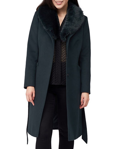 Precis Petite Eva Faux Fur Collar Coat-DARK GREEN-UK 12/US 10