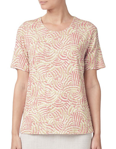 Eastex Dandelion Overlay Print Top-NEUTRAL-UK 20/US 18