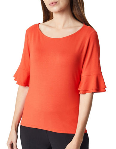 Precis Petite Flute Bell Sleeve Top-ORANGE-X-Small