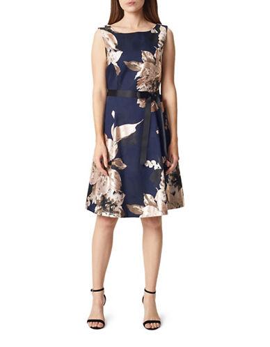 Precis Petite Jacquard Knee-Length Dress-NAVY MULTI-UK 16/US 14