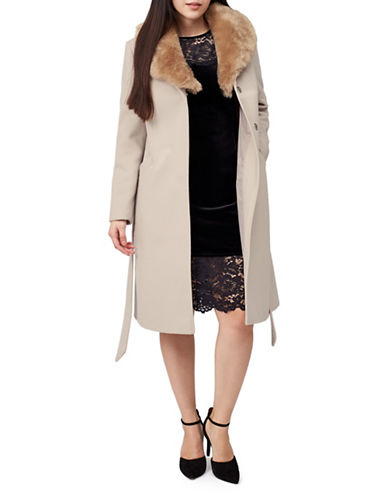 Precis Petite Eva Faux Fur Collar Coat-LIGHT NATURAL-UK 12/US 10