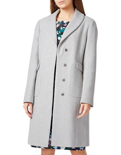 Precis Petite Hatty Classic Long Coat-GREY-UK 6/US 4