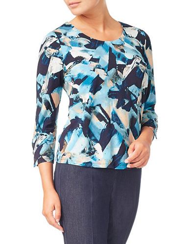 Eastex Three-Quarter Sleeve Jersey Top-BLUE-UK 12/US 10