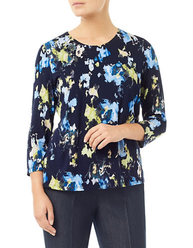 Eastex Printed Landscape Top-BLUE-UK 20/US 18
