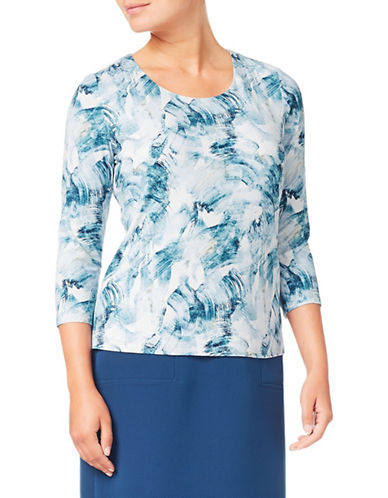 Eastex Three-Quarter Sleeve Top-BLUE-UK 20/US 18
