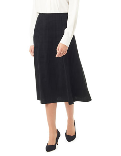 Eastex Ponted Plaid Midi Skirt-BLACK-UK 14/US 12