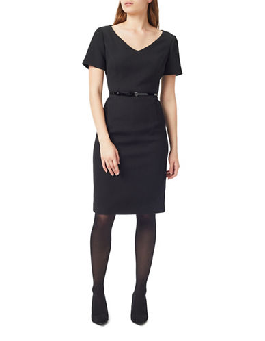 Precis Petite Textured Dress-BLACK-UK 18/US 16