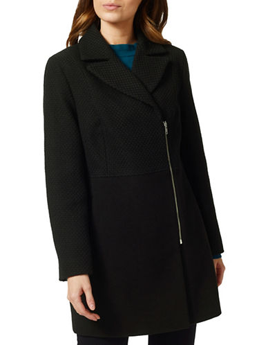 Precis Petite Amy Mix Media Coat-BLACK-UK 18/US 16