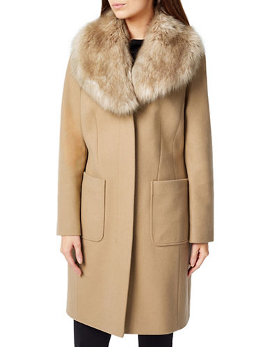 Precis Petite Macey Faux Fur Collar Long Coat-NEUTRAL-UK 6/US 4