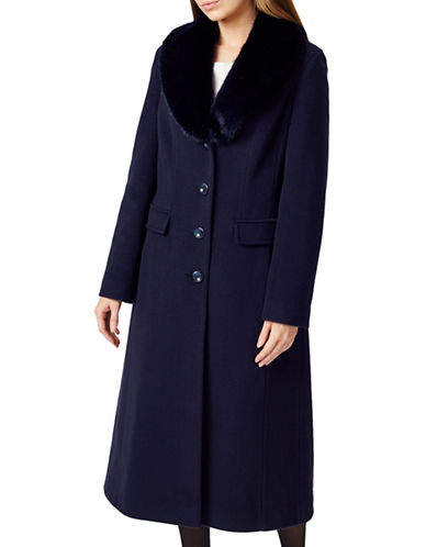 Precis Petite Faux Fur Collared Coat-NAVY-UK 16/US 14