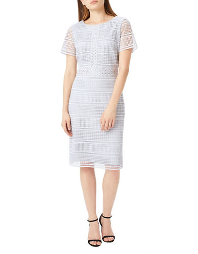 Precis Petite Petite Geo Lace Sheath Dress-GREY-UK 16/US 14