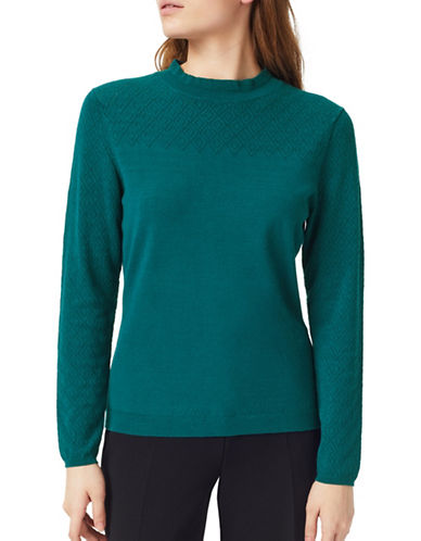 Precis Petite Placed Pointelle Sweater-GREEN-Large