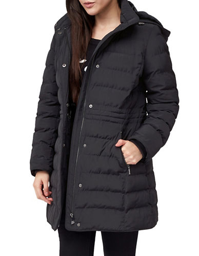 Precis Petite Petite Ana Quilted Hooded Coat-BLACK-UK 10/US 8