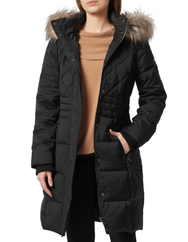 Precis Petite Faux Fur Quilted Down Coat-BLACK-UK 6/US 4