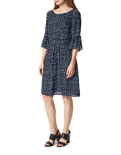 Precis Petite Confetti Spot Bell Sleeve Shift Dress-BLACK-UK 14/US 12