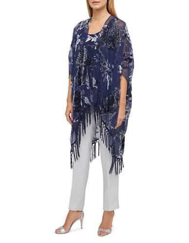 Jacques Vert Isla Burnout Kimono-NAVY MULTI-Medium/Large