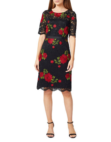 Precis Petite Petite Embroidered Sheath Dress-BLACK MULTI-UK 16/US 14