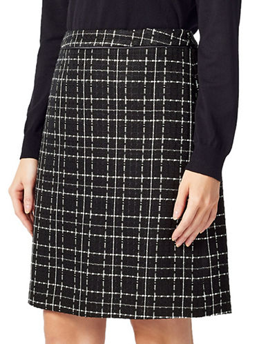 Precis Petite Petite Check Woven Skirt-MULTI BLACK-UK 14/US 12