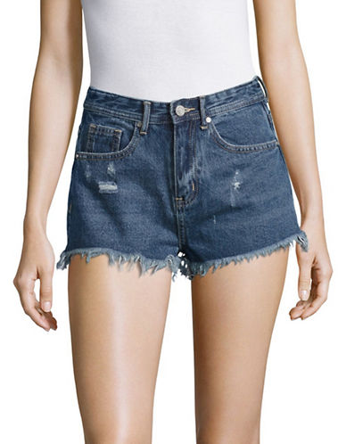 Missguided Sinner High-Waist Flame Denim Shorts-BLUE-UK 10/US 6