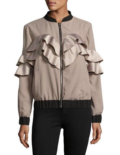 Missguided Ruffle Detail Bomber Jacket-GREY-UK 10/US 6