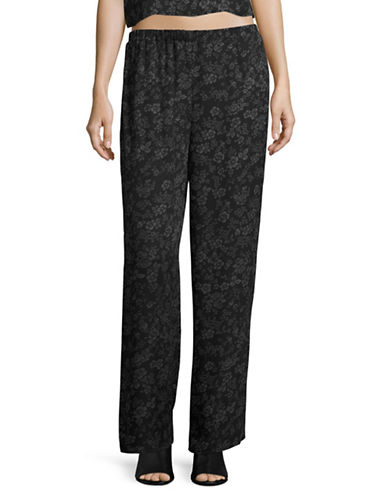 Missguided Floral Pants-BLACK-UK 12/US 8