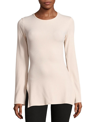 Missguided Ribbed Split-Sleeved Top-BEIGE-8 89006357_BEIGE_8