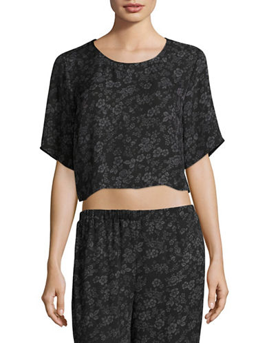 Missguided Floral Crop Tee-BLACK-UK 12/US 8
