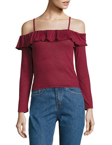 Missguided Ribbed Ruffle Top-RED-UK 12/US 8