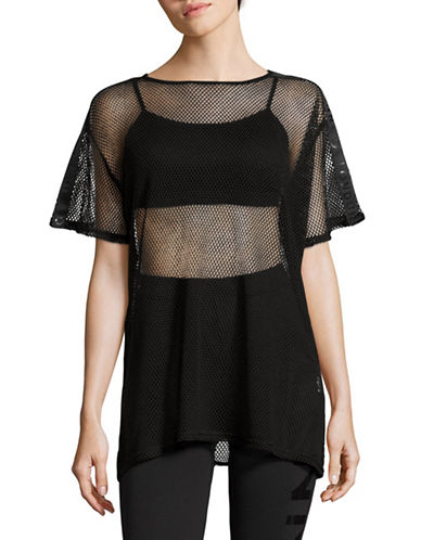 Missguided Allover Mesh T Shirt-BLACK-UK 10/US 6