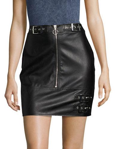 Missguided Zip Through Buckle Skirt-BLACK-UK 6/US 2