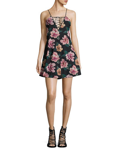 Missguided Floral Print Lace-Up Babydoll Dress-MULTI-UK 16/US 12