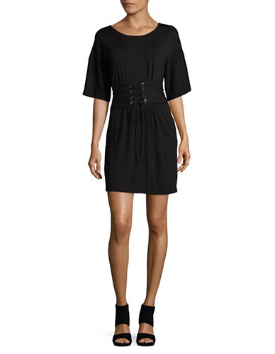 Missguided Oversized Corset Belt T-Shirt-BLACK-UK 14/US 10