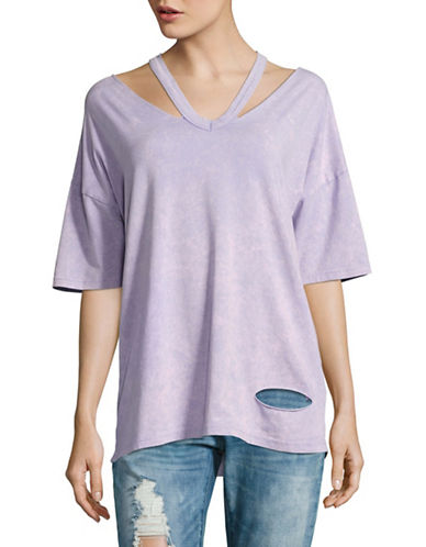 Missguided Deconstructed Oversized Tie-Dye T-Shirt-PURPLE-UK 14/US 10